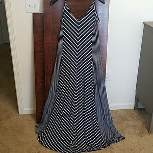 Floor length striped maxi